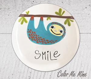 Virginia Beach Sloth Smile Plate