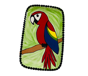 Norfolk Scarlet Macaw Plate